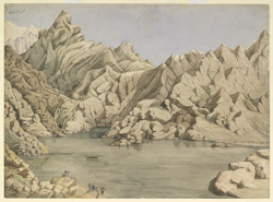 View of 'Sooriy-Koond' & 'Goosainkoond' in the Goosainthau Mountain - from a sketch by Rajman Singh, August 1854